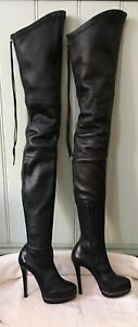 """CHRISTIAN LOUBOUTIN  """"Unique 140"""" Black Leather THIGH BOOTS size 37"""