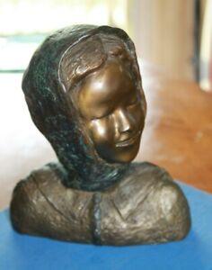 """African American Artist Sculptor George Gadson 8"""" org Bronze Girl sculpture art"""