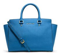 NWT! MICHAEL KORS Selma LARGE Satchel Leather Bag Purse Heritage Blue $358