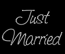 "Iron On Rhinestone Motifs Diamonte Wedding Transfers ""Just Married""-2L - Style2"