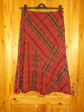 PER UNA M&S brick red black brown grey check tartan midi calf flare skirt 14 42