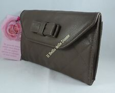 PACKET CAMOMILLA bag document holder Pouch eco-leather brown with bow