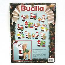 Bucilla Jolly Old St. Nick Jeweled Felt Christmas Ornaments Kit Applique Set 12