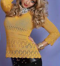 Sexy Miss Damen Loch Strick Häckel Pullover Pulli V Ausschnitt XS/S Senf TOP NEU