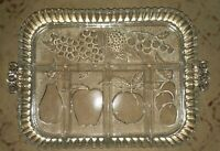 Vintage 1960s Clear Glass Platter Fruit Vegetable tray Indiana glass EUC