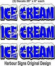 "(3) Ice Cream Decal 20"" x 6"" Cone Concession Restaurant Food Truck Vinyl Sticker"