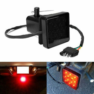 Universal 15 LED 2'' Trailer Truck Hitch Towing Receiver Cover Brake Light W/Pin