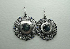 LARGE VICTORIAN STYLE SILVER PLATED FILIGREE EARRINGS GREEN STONES HOOK
