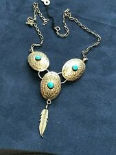 NAVAJO TURQUOISE CONCHO NECKLACE STERLING V SHAPED TRIPLE PENDANT DANGLE FEATHER