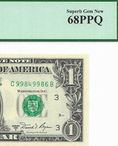 1981A $1 PHILADELPHIA FRN, PCGS SUPERB GEM NEW 68 PPQ UNCIRCULATED BANKNOTE, C/B