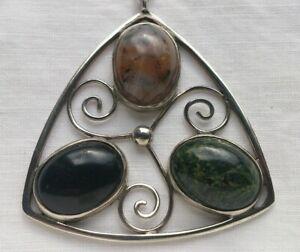 vintage Hjaltasteyn sterling silver & agate pendant - Edinburgh 1975