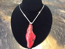 """Stunning Natural Coral Pendant With Sterling Silver """"V"""" Cuff Necklace"""