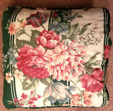 "Croscill Green Floral Granada Fabric Reversible 15"" Pillow Shabby Cottage Chic"