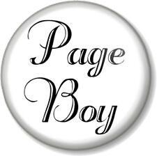 "Page Boy 1"" Pin Button Badge Wedding Day Favour Gift Present Usher Ceremony Blk"