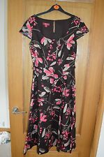Monsoon Brown, Pink & Beige Cap Short Sleeve Knee Length Dress with Belt Size 8
