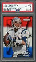 Tom Brady New England Patriots 2014 Panini Prizm Red White Blue Card #36 PSA 10