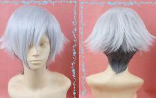 Death Parade Decim Short Silver White/Dark Gray mix Cosplay Wig + hairnet