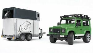 Bruder 02592 Land Rover Defender w/ Horse Trailer and Horse