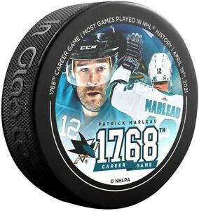 Patrick Marleau San Jose Sharks 1768 NHL Games Played Record Commemorative Puck