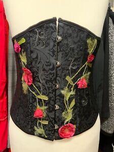Corsage Mieder schwarz rote Rosen Korsage Korsett Gr. S, Gr. M, Trachten