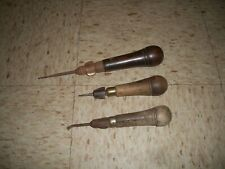 Lot of Antique Wood Handle Tools Screwdrivers Pat 1884 w Bits Accessories Fray