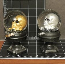 lot 2 gold silver Skull Snow Globe Ornament Fantasy Decor evil vampire crypt Art