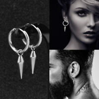 1 Pair Men Stainless Steel Fashion Pendant Drop Dangle Earrings Silver