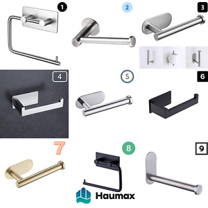 Haumax Stainless Steel Toilet Roll Holder without Drill Self Adhesive Paper