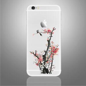 Pink Flowers and Bird Sticker for PHONES, iPhone X, 6,6Plus,6s,6sPlus, 7,7Plus,8