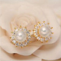 1Pair Crystal Rhinestone Jewelry Women Lady Pearl Ear Stud Earrings d