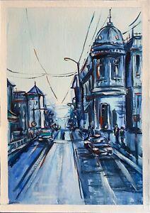 original painting A4 338VE art samovar acrylic cityscape Architecture Signed