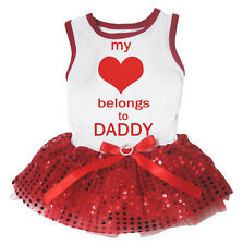 My Love Belongs To Daddy White Cotton Top Red Sequins Tutu Pet Dog Puppy Dress