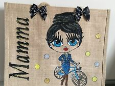PERSONALISED JUTE BAGS Hand Painted To Your Design Beach School Work Gift
