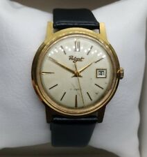 Poljot rare dial, 17 jewels, soviet watch, gold plated case, date indicator