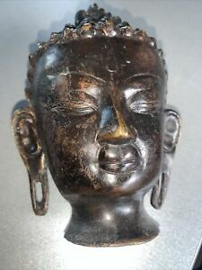 Lovely Old Bronze Indian Hindu Head Bust Nice Natural Patina