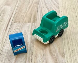 Vintage Fisher Price Little People Sesame Street Mailbox and Sanitation Truck