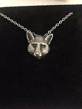 "Cabeza de Fox R160 Estaño inglés en un collar chapado en plata platino 18"""