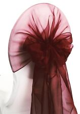 100 Burgundy WEDDING ORGANZA HOODS SASHES CHAIR COVER WRAPS BOW SASH UK SELLER