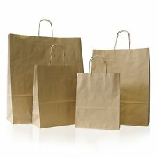 10 X Brown Paper Party Bags Twisted Handles Medium 23x32 10cm