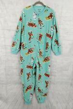 Nick & Nora Sock Monkey Snow Fun Pajamas Union Suit w/ Pockets XXL