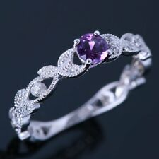 Sale Amethyst Diamonds Jewelry Engagement Wedding Solid 14K White Gold Fine Ring