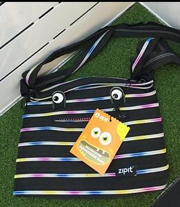 Shoulder Bag Zipit® Monster Made from One Long Zipper -Black/Rainbow