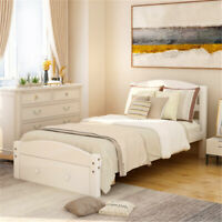 Twin Size Bed Frame Matress Platform W/ Storage Drawers Headboard Wood Slats