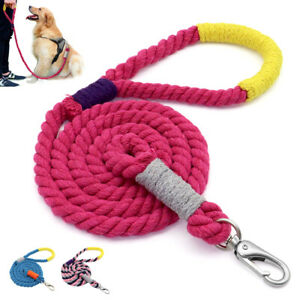 Strong Braided Rope Dog Walking Leash for Medium Large Dog with Handle Pink Blue