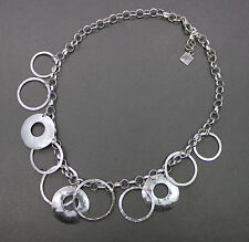 "Silpada Retired Sterling Silver Hammered Circle Ring Necklace 16"" N1325"