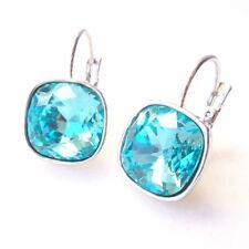 Turquoise Blue Crystal Drop Earrings w/ Cushion Cut Swarovski Rhinestones Prom