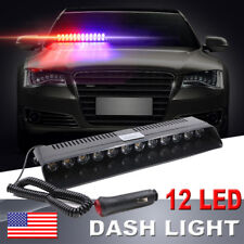 12 LED Car Truck Dash Strobe Flash Light Emergency Police Warning Light Red Blue