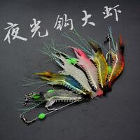 6pc Soft Fishing Lure Shrimp Luminous Artificial Bait Fishing Lures Baits 5g/8cm