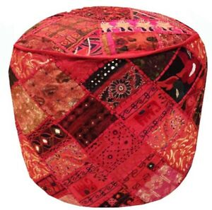 """24"""" OTTOMAN PATCHWORK POUFFE FOOTSTOOL FURNITURE CHAIR PILLOW BENCH COVER ETHNIC"""