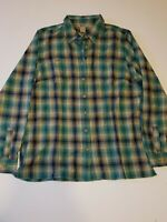DULUTH TRADING CO. FLANNEL MEN'S SHIRT GREEN PLAID SIZE LARGE FREE SHIPPING